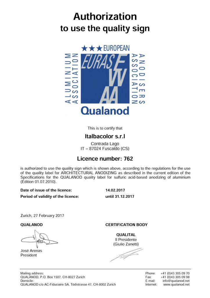 Licenza qualanod italbacolor per anodizzazione alluminio