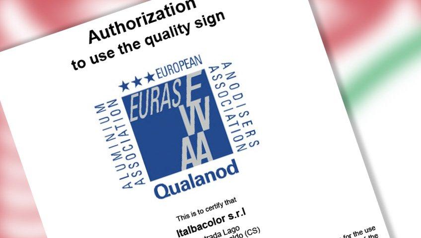 ossidazione anodica: a italbacolor certificazione qualanod