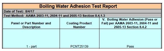 risultati test verniciatura alluminio boiling water