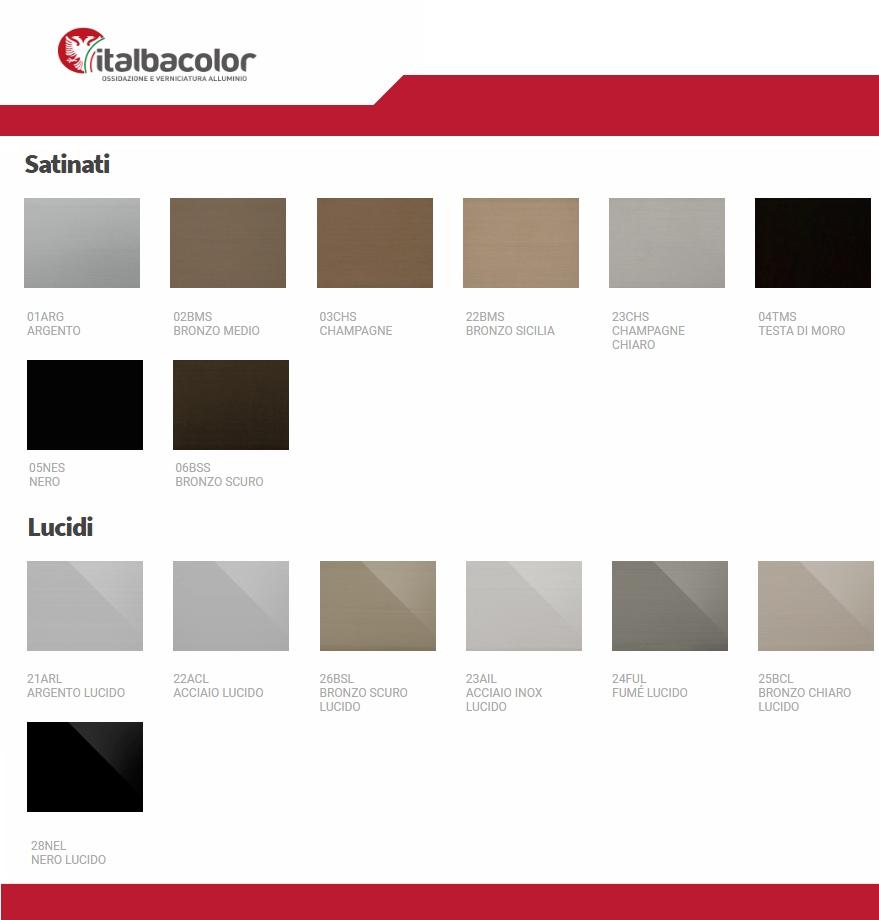 tabella colori ral alluminio ossidato lucido satinato